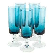 Aqua Cup Clear Base Flute Glasses | The Hour Shop Vintage