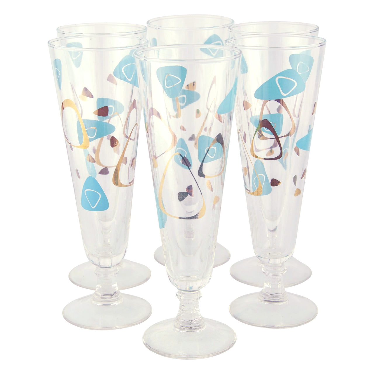 Aqua & Gold Atomic Pilsner Glasses | The Hour Shop Vintage