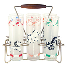 Circus Animal Frosted Collins Glass Caddy