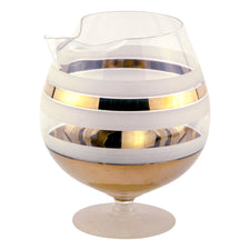 Gold & White Band Pedestal Cocktail Pitcher