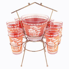Dyball Coral Pagoda Ice Bucket Glass Caddy | The Hour Vintage