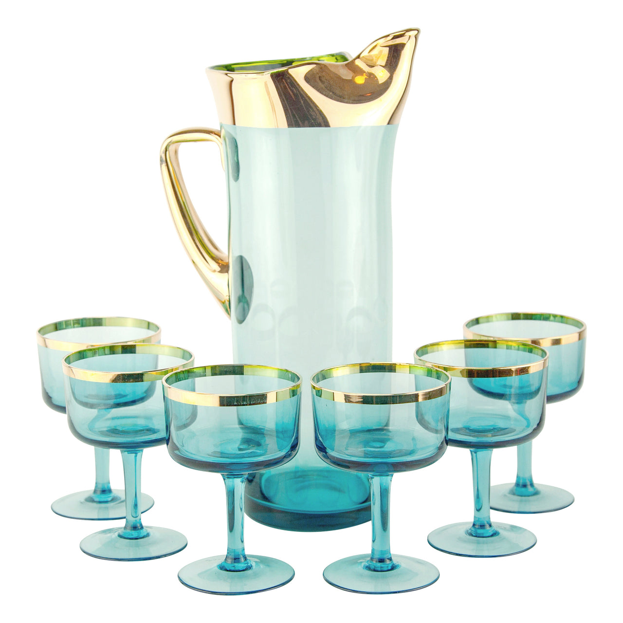 Vintage Aqua & Gold Hungarian Cocktail Pitcher & Glasses Set