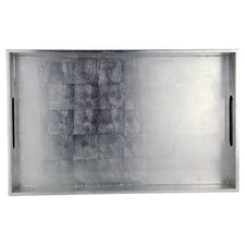 Silver Rectangle Lacquer Tray | The Hour Shop Home Decor