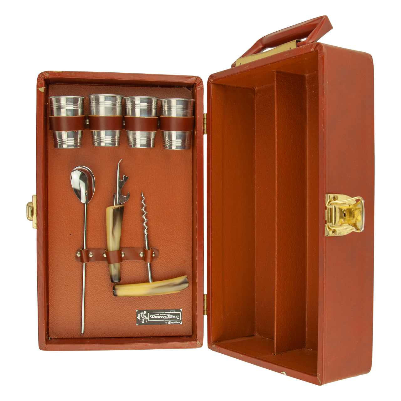 Vintage Brown Everware 2 Bottle Travel Bar & Bar Tool Set
