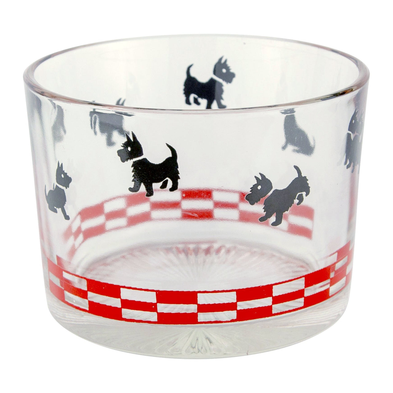 Red & Black Scottie Dog Glass Ice Bucket | The Hour Vintage
