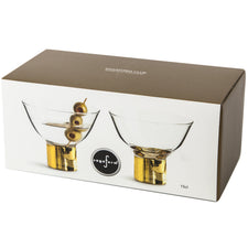 Gold Base Coupe Glasses Gift Box | The Hour Shop Glassware