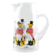 aVintage Cera Top Hat Foxes & Dogs Glass Pitcher | The Hour