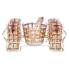 Vintage Gold & Brown Plaid Ice Bucket Glass Caddy Set Front | The Hour
