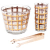 Vintage Gold & Brown Plaid Ice Bucket Glass Caddy Set Pieces | The Hour