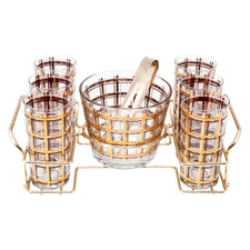 Vintage Gold & Brown Plaid Ice Bucket Glass Caddy Set | The Hour