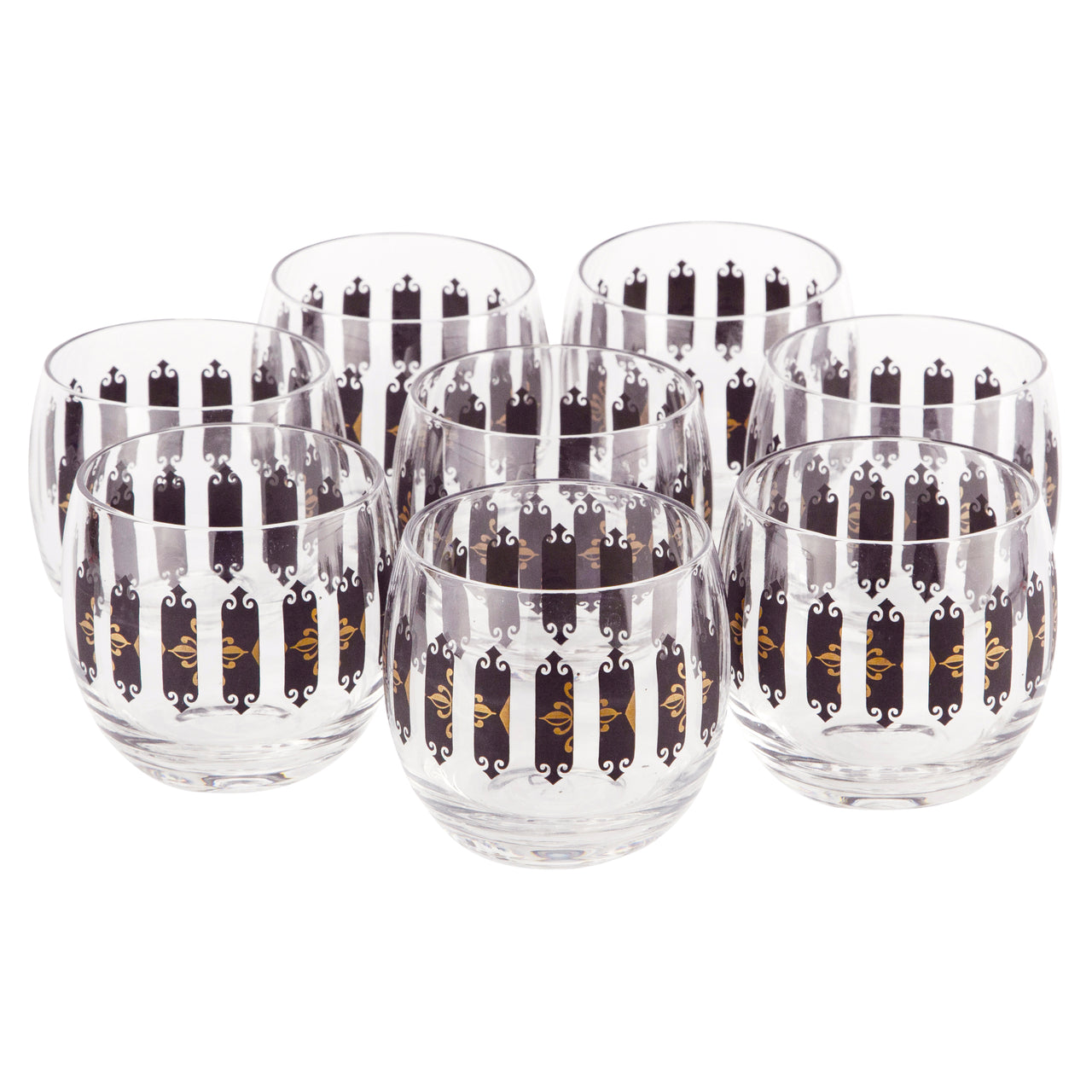 Black & Gold Pattern Roly Poly Glasses