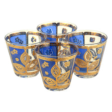 Culver Blue & Gold Old Fashioned Glasses | The Hour Vintage