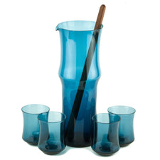 Bo Borgstrom Teal Cocktial Pitcher Set | The Hour MCM Vintage