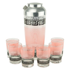 Pink & Black Greek Key Cocktail Shaker Set