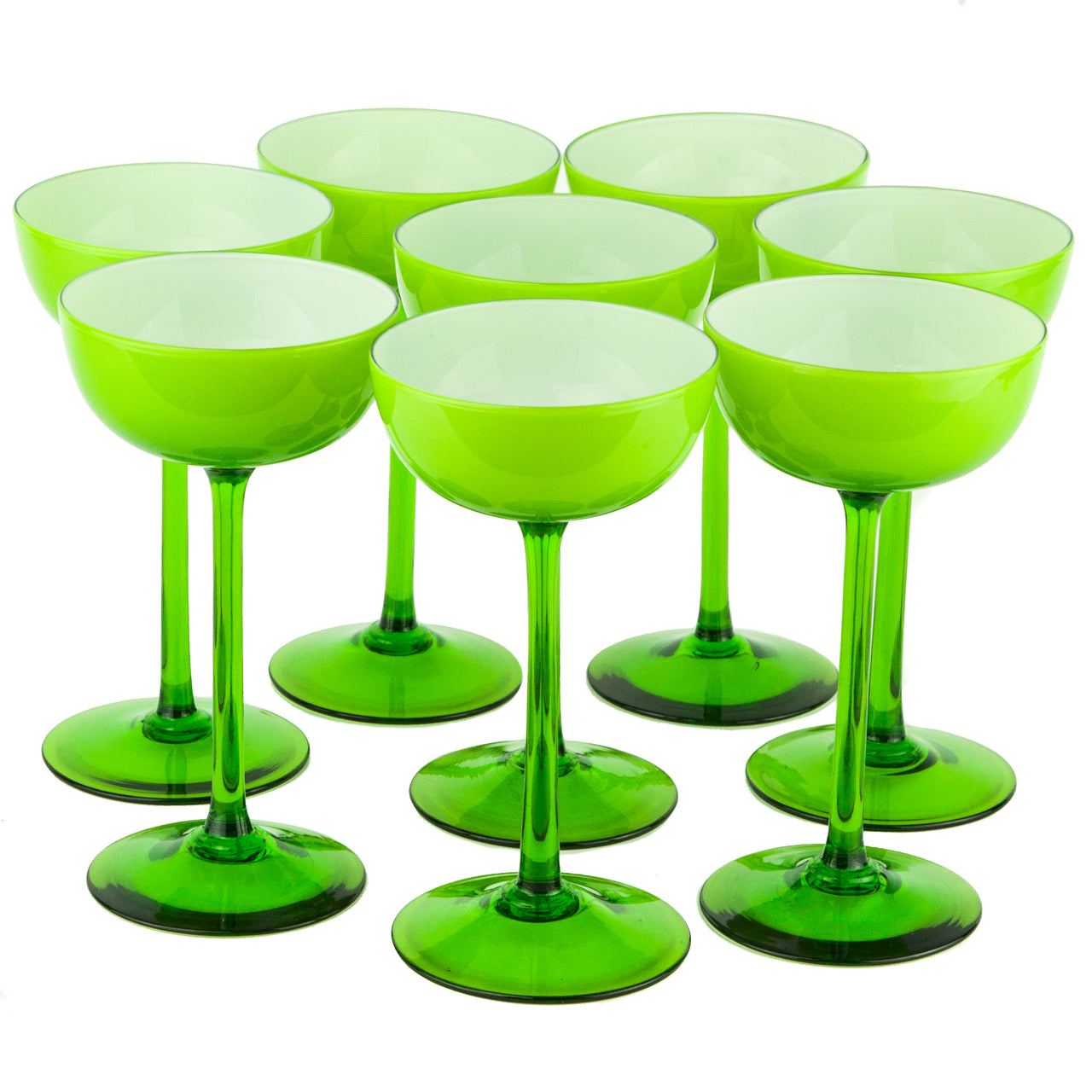 Carlo Moretti Green Cased Coupe Glasses | The Hour Vintage