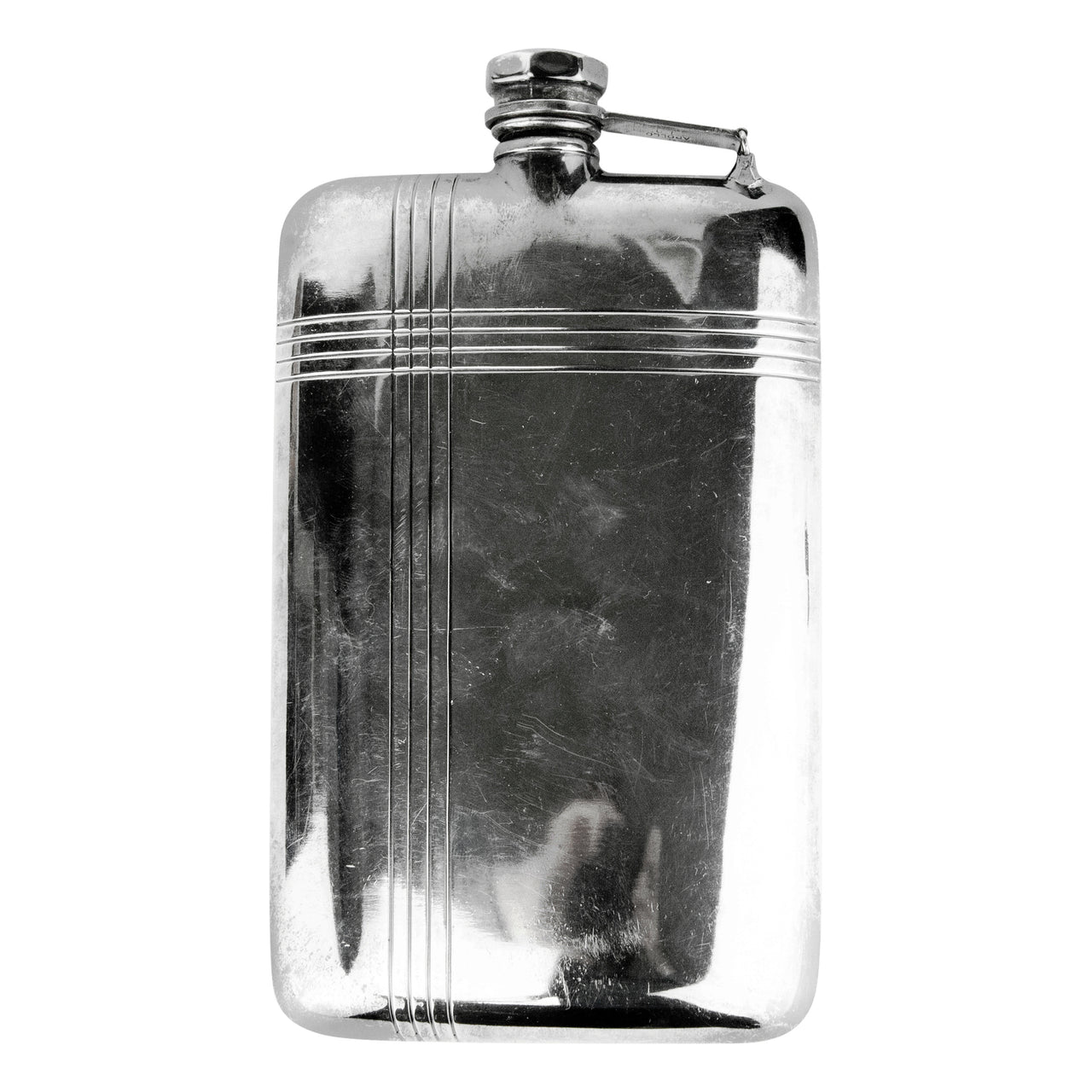 Vintage Apollo Silver Plate Etched Lines Flask | The Hour Shop