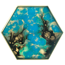 Blue & Gold Hexagon Reverse Painted Glass Tray | The Hour Shop