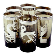 Mexican Sterling Overlay Smoke Shot Glasses | The Hour Vintage