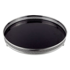 Black Formica Round Reticulated Edge Tray