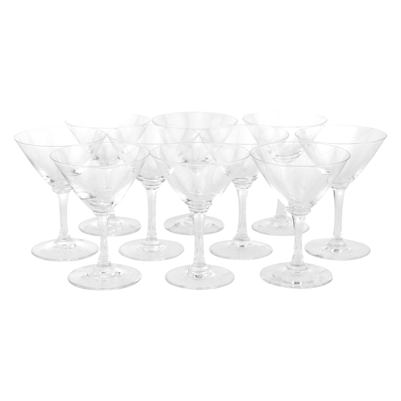 Art Deco Etched Cocktail Glasses | The Hour Vintage Glassware