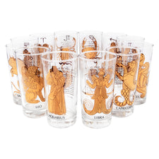 Vintage Gold Zodiac Sun Signs Collins Glasses | The Hour Shop