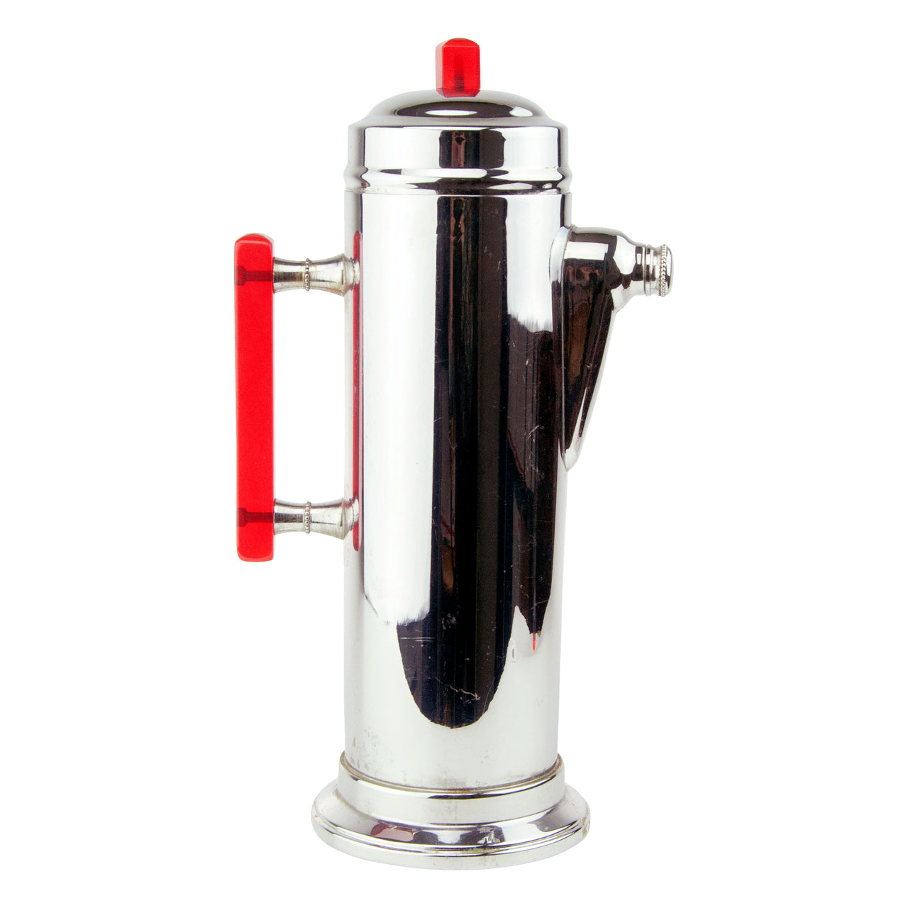 Vintage Art Deco Red Lucite Handle Chrome Cocktail Shaker