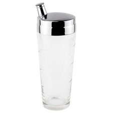 Cut Swirl Clear Glass Cocktail Shaker