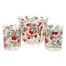 Cera Strawberry Ice Bucket & Rocks Glass Set