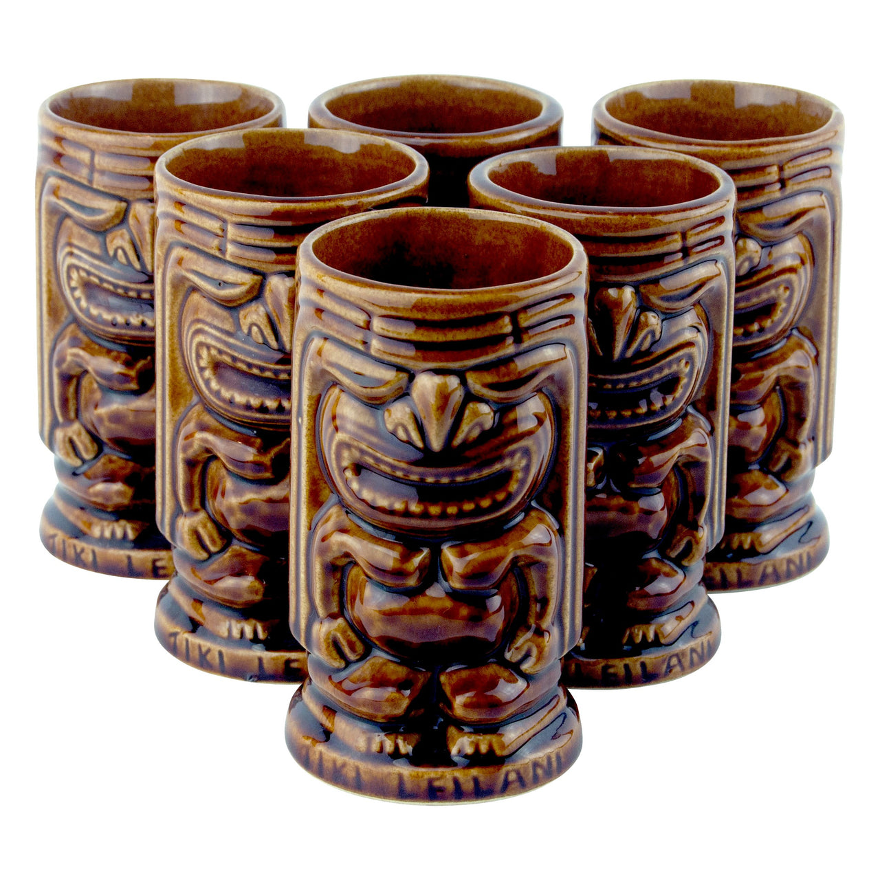 Vintage Leilani Brown Ceramic Tiki Mugs | Tiki Bar Glassware