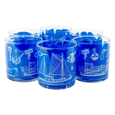 Vintage Georges Briard Blue Nautical Blueprint Rocks Glasses