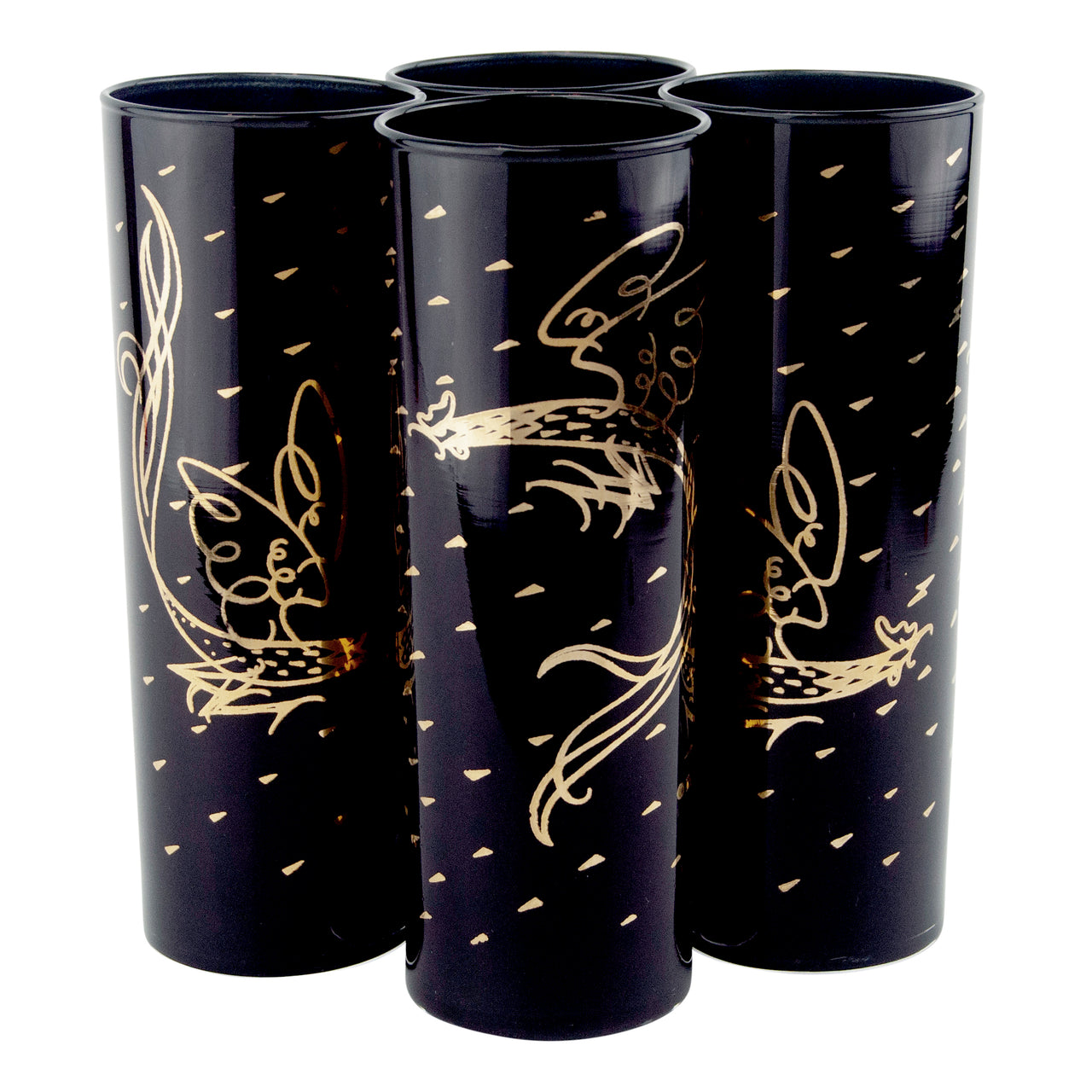 Vintage Fred Press Black & Gold Rooster Collins Glasses