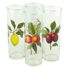 4 Vintage West Virginia Glass Gold Rim Fruit Collins Glasses