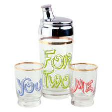 Vintage Cocktails For Two, You & Me Gold Trim Glass  Shaker Set