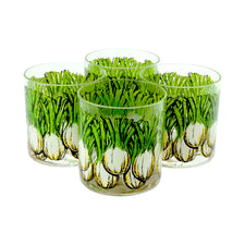Vintage Georges Briard Green & White Fennel Bulb Rocks Glasses