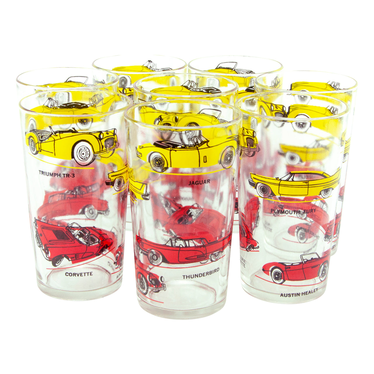 Vintage Red & Yellow Classic Car Glass Tumblers | Retro Autos