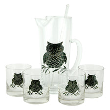 Vintage Black Owl Cocktail Pitcher, Stirrer & Rocks Glasses Set