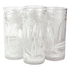White Palm Tree Collins Glasses