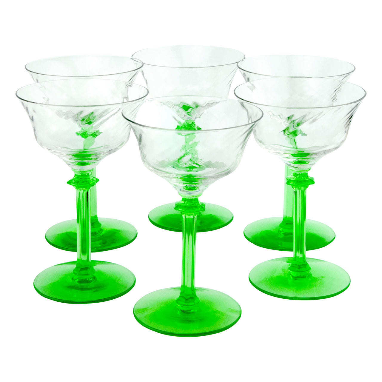 Vintage Green Vaseline Glass Stem Clear Cup Cocktail Glasses