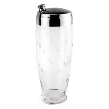 Cut Starburst Footed Glass Cocktail Shaker
