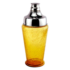 Amber Crackle Glass Cocktail Shaker