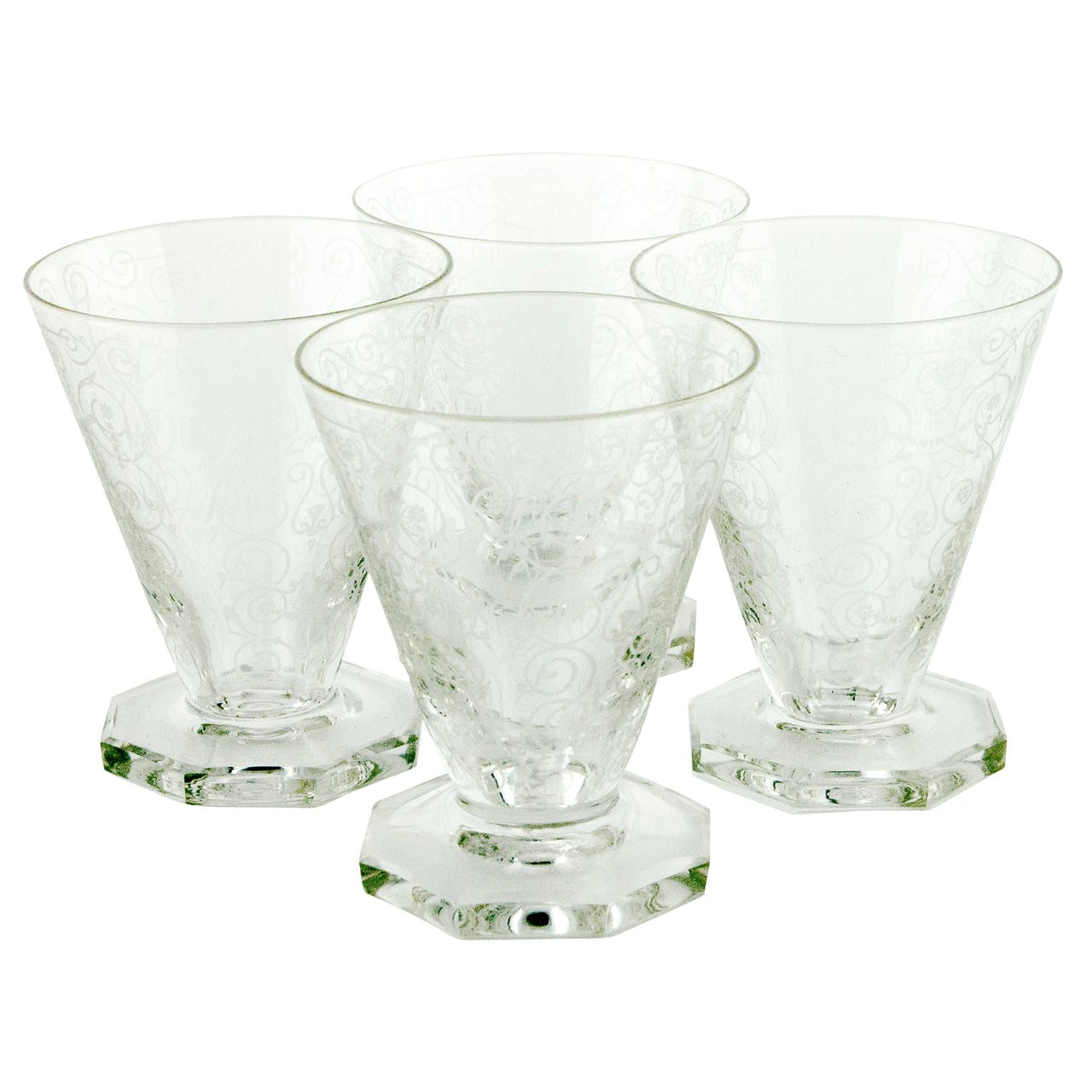 Vintage French  Etched Glass Octagon Foot Cocktail Glasses