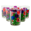 Vintage Georges Briard Blue Purple Red Flower Rocks Glass Set