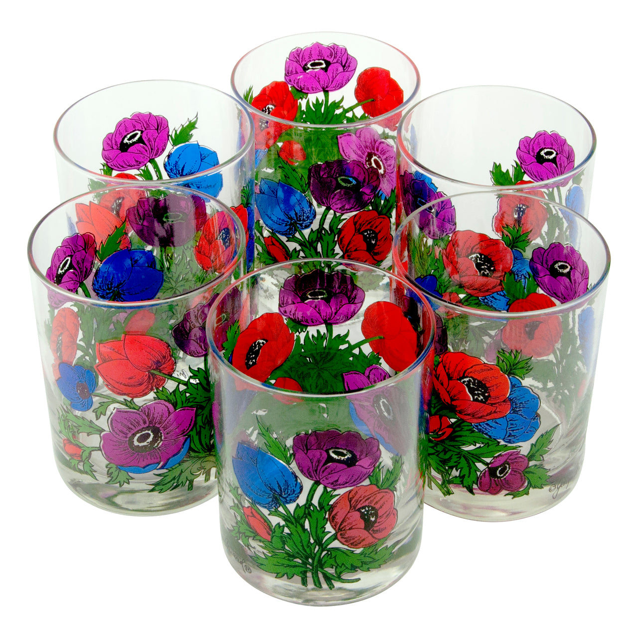 Vintage Georges Briard Blue Purple Red Flower Rocks Glasses