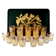 Vintage Ceraglass 24k Gold Ornament Cocktail Set | The Hour