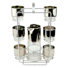 Vintage Mercury Fade 8 Piece Cocktail Pitcher Glass Caddy Set