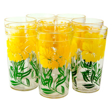 Mid Century Vintage Yellow & Green Flower Collins Glasses