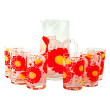 Vintage Orange & Yellow Flower Cocktail Pitcher & Glasses Set