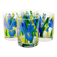Vintage Georges Briard Blue Iris Flower Rocks Glasses