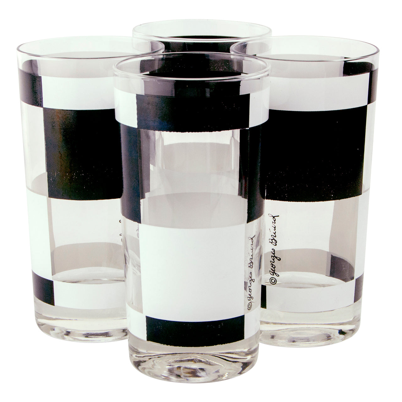 Georges Briard Black & White Collins Glasses