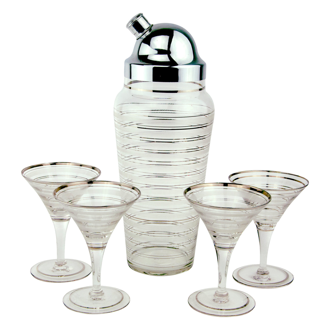 Vintage Art Deco Platinum & Frost Striped Cocktail Shaker Set